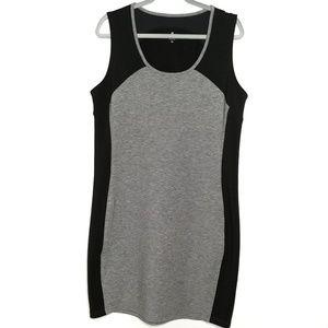 Athleta gray black sleeveless mesh detail dress